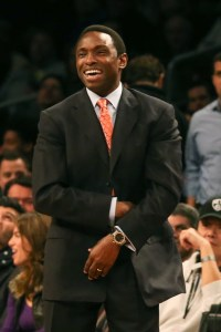Dec 18, 2012; New York, NY, USA; Brooklyn Nets head coach Avery Johnson reacts during the first quarter against the Utah Jazz at Barclays Center. Mandatory Credit: Anthony Gruppuso-USA TODAY Sports