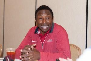 Oct 21, 2015; Charlotte, NC, USA; Alabama Crimson Tide head coach Avery Johnson speaks with the media during SEC Tipoff held at Ballantyne Hotel. Mandatory Credit: Jeremy Brevard-USA TODAY Sports
