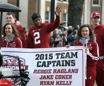 Jan 23, 2016; Tuscaloosa, AL, USA; Alabama running back Derrick Henry (2) waves to fans during a parade to celebrate the victory in the CFP National Championship game at Bryant-Denny Stadium. Mandatory Credit: Butch Dill-USA TODAY Sports