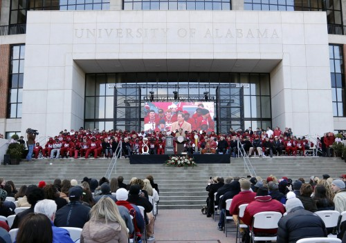 Jan 23, 2016; Tuscaloosa, AL, USA; Alabama head coach Nick Saban speaks to fans during a presentation to celebrate the victory in the CFP National Championship game at Bryant-Denny Stadium. Mandatory Credit: Butch Dill-USA TODAY Sports