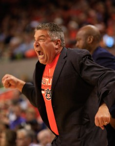 Jan 2, 2016; Auburn, AL, USA; Auburn Tigers head coach Bruce Pearl reacts during the game against Tennessee Volunteers at Auburn Arena. Mandatory Credit: Marvin Gentry-USA TODAY Sports
