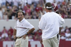 Sep 10, 2016; Tuscaloosa, AL, USA; Alabama Crimson Tide head coach Nick Saban looks back at Crimson Tide offensive coordinator Lane Kiffin and quarterback Jalen Hurts (2) during the game against the Western Kentucky Hilltoppers at Bryant-Denny Stadium. The Tide defeated the Hilltoppers 38-10. Mandatory Credit: Marvin Gentry-USA TODAY Sports