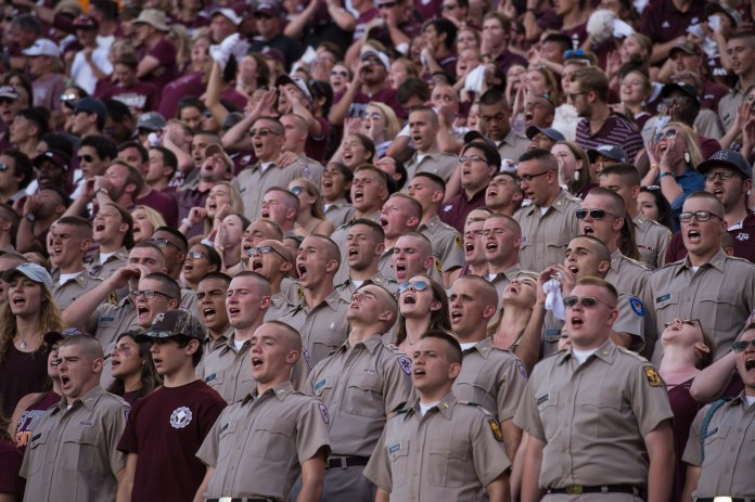 Oct 8, 2016; College Station, TX, USA; A view of the fans and cadets during the game between the Texas A&M Aggies and the Tennessee Volunteers at Kyle Field. The Aggies defeat the Volunteers 45-38 in overtime. Mandatory Credit: Jerome Miron-USA TODAY Sports