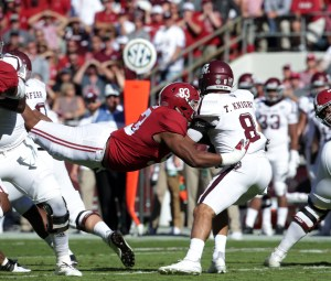 Oct 22, 2016; Tuscaloosa, AL, USA; Alabama Crimson Tide defensive lineman Jonathan Allen (93) hits Texas A&M Aggies quarterback Trevor Knight (8) during the first quarter at Bryant-Denny Stadium. Mandatory Credit: Marvin Gentry-USA TODAY Sports