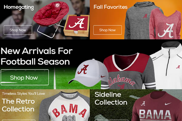 New Arrivals for the Alabama Crimson Tide 2016 Football season. Fall. Tailgating. Ladies. Kids. Office. Memorbilia. Get it at TideFansStore.com! Shop Alabama Crimson Tide Gear, University of Alabama Merchandise, Store, Bookstore, Clothing, Gifts and more!