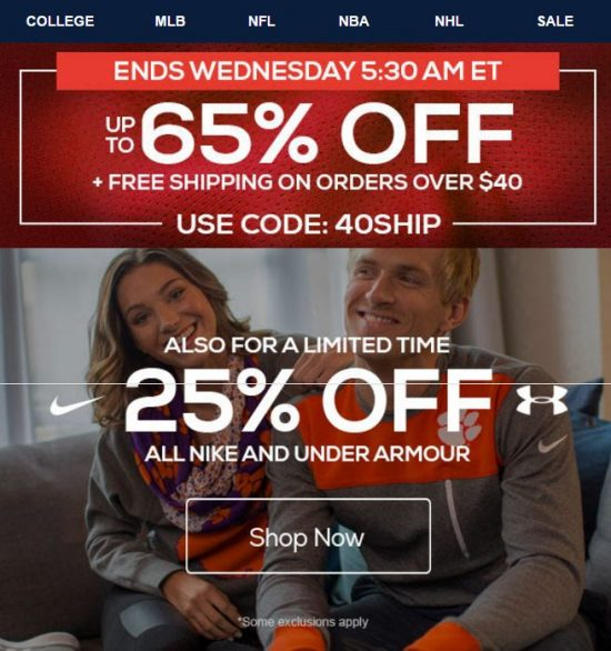 *Offer expires 11/23/16 at 5:30 AM ET. Not all teams will have items on sale for 25% off or more. Offer excludes on sale product, recent playoff, championship, special event and race winning product, NFL MLB NBA and NHL jerseys, MLB and NFL On-Field headwear, 2016 Nike apparel, select athletes and memorabilia, Under Armour, Alex and Ani, Dooney & Bourke, Lillie Bee, Vera Bradley, Wilson, Beats by Dre, die cast,show tickets, and some customized apparel merchandise. Free shipping (if applicable) valid in Continental U.S., US Territories and APO/FPO for eligible merchandise only. FanCash is earned on the purchase amount after all applicable discounts are applied and before tax is applied. FanCash will be automatically credited to your account after every eligible purchase. To earn and redeem FanCash you must have a registered customer account with a valid email address, and be a Fanatics Rewards member. FanCash earned between 1/1/2016 and 9/14/2016 will expire 6 months after the most recent purchase; FanCash earned between 9/15/2016 and 12/31/16 will expire 11:59 PM EST 12/31/16. Not valid for gift codes, cards or certificates or taxes. Cannot be combined with other promotions or discounts. Except where required by law, cannot be redeemed for cash, reproduced, modified, sold, traded, refunded or replaced. Not valid on previous purchases or returns. No cash back. Valid only while supplies last. Other brands or merchandise (based on availability or other factors) may be excluded. Offer may be modified or terminated at any time without notice. All purchases are subject to this site's Terms of Use or equivalent.