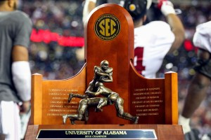 Dec 3, 2016; Atlanta, GA, USA; View of the trophy Alabama Crimson Tide won after the SEC Championship college football game against the Florida Gators at Georgia Dome. Alabama defeated Florida 54-16. Mandatory Credit: Jason Getz-USA TODAY Sports
