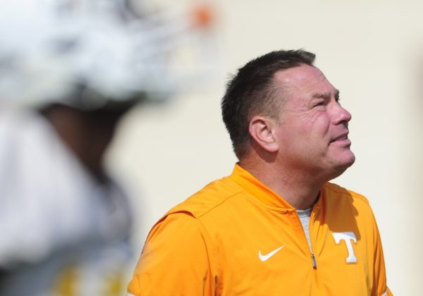 Mar 23, 2017; Knoxville, TN, USA; Head Coach Butch Jones watches during Tennessee Volunteers football practice at Anderson Training Facility. Mandatory Credit: Calvin Mattheis/Knoxville News Sentinel via USA TODAY NETWORK