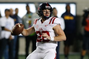 Sep 16, 2017; Berkeley, CA, USA; Mississippi Rebels quarterback Shea Patterson (20) prepares to throw the football against the California Golden Bears during the second quarter at Memorial Stadium. Mandatory Credit: Stan Szeto-USA TODAY Sports