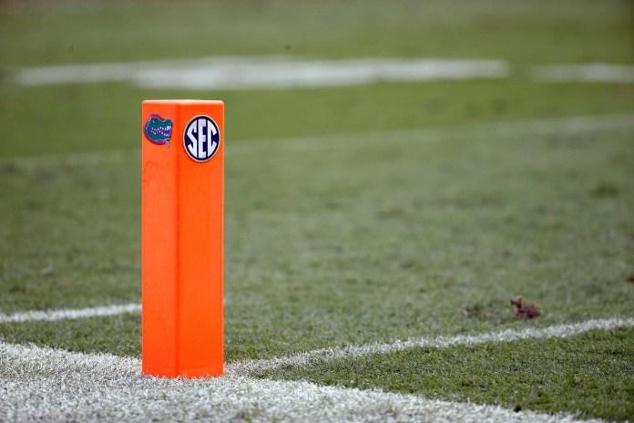 SEC Logo on end zone pylon. Credit: Kim Klement-USA TODAY Sports