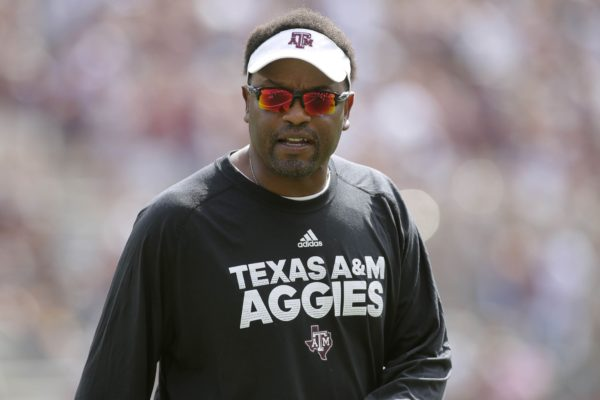 Sep 16, 2017; College Station, TX, USA; Texas A&M head coach Kevin Sumlin on the sidelines against UL Lafayette at Kyle Field. Mandatory Credit: Erich Schlegel-USA TODAY Sports