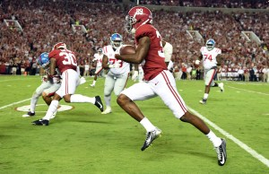 Sep 30, 2017; Tuscaloosa, AL, USA; Alabama Crimson Tide defensive back Levi Wallace (39) returns an interception for a touchdown against the Mississippi Rebels during the first quarter at Bryant-Denny Stadium. Mandatory Credit: John David Mercer-USA TODAY Sports