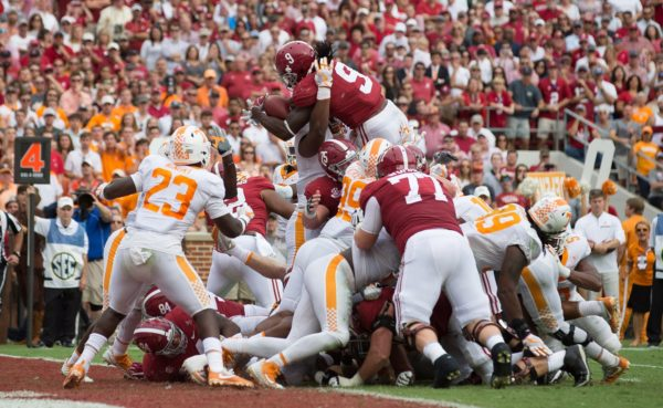 Oct 21, 2017; Tuscaloosa, AL, USA; Alabama Crimson Tide running back Bo Scarbrough (9)goes up and over for a touchdown against Tennessee Volunteers in the second quarter at Bryant-Denny Stadium. Mandatory Credit: Marvin Gentry-USA TODAY Sports