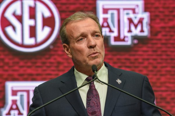 Jul 16, 2018; Atlanta, GA, USA; Texas A&M head coach Jimbo Fisher addresses the media and answers questions during SEC football media day at the College Football Hall of Fame. Mandatory Credit: Dale Zanine-USA TODAY Sports