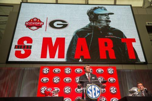 ul 17, 2018; Atlanta, GA, USA; Georgia Bulldogs head coach Kirby Smart talks to the media during SEC football media day at the College Football Hall of Fame. Mandatory Credit: Dale Zanine-USA TODAY Sports