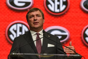 Jul 17, 2018; Atlanta, GA, USA; Georgia Bulldogs head coach Kirby Smart talks to the media during SEC football media day at the College Football Hall of Fame. Mandatory Credit: Dale Zanine-USA TODAY Sports