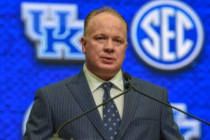 Jul 16, 2018; Atlanta, GA, USA; Kentucky Wildcats head coach Mark Stoops answers questions during SEC football media day at the College Football Hall of Fame. Mandatory Credit: Dale Zanine-USA TODAY Sports