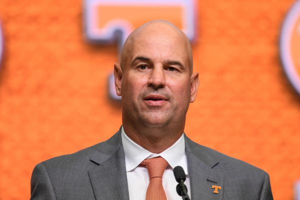 Jul 18, 2018; Atlanta, GA, USA; Tennessee Volunteers head coach Jeremy Pruitt addresses the media during SEC football media day at the College Football Hall of Fame. Mandatory Credit: Dale Zanine-USA TODAY Sports