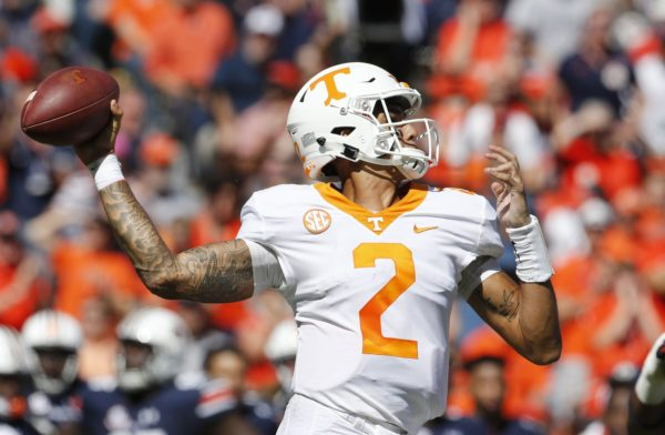 Oct 13, 2018; Auburn, AL, USA; Tennessee Volunteers quarterback Jarrett Guarantano (2) throws a pass against the Auburn Tigers during the second quarter at Jordan-Hare Stadium. Mandatory Credit: John Reed-USA TODAY Sports