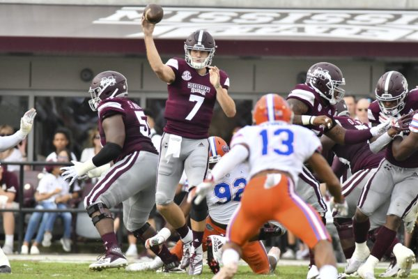 Sep 29, 2018; Starkville, MS, USA; Mississippi State Bulldogs quarterback Nick Fitzgerald (7) makes a pass against the Florida Gators during the first quarter at Davis Wade Stadium. Mandatory Credit: Matt Bush-USA TODAY Sports