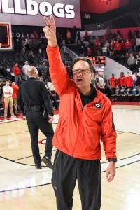 Jan 26, 2019; Athens, GA, USA; Georgia Bulldogs head coach Tom Crean acknowledges the fans after Georgia defeated the Texas Longhorns at Stegeman Coliseum. Mandatory Credit: Dale Zanine-USA TODAY Sports
