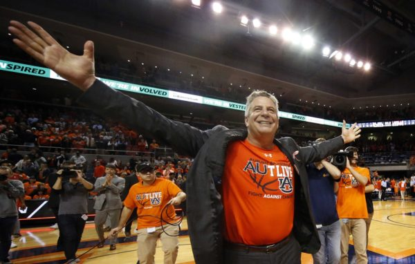 Feb 2, 2019; Auburn, AL, USA; Auburn Tigers head coach Bruce Pearl celebrates after the Tigers beat the Alabama Crimson Tide at Auburn Arena. Mandatory Credit: John Reed-USA TODAY Sports