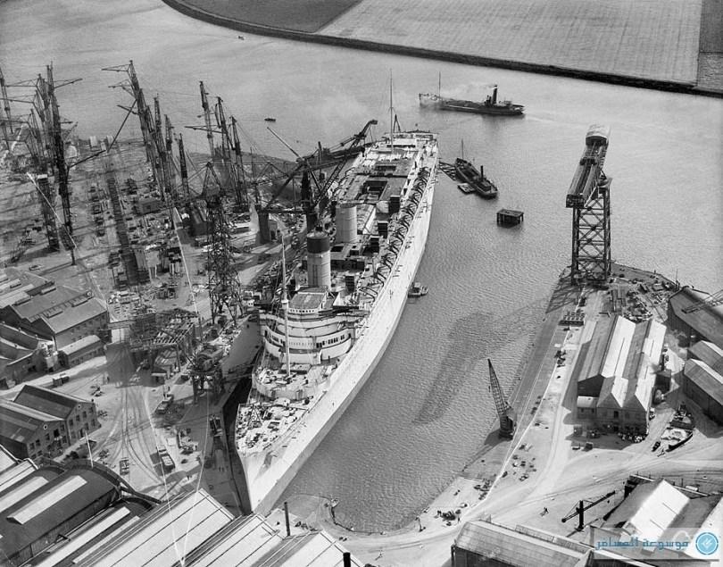 بريطانيا من فوق : حوض بناء السفن جون براون، Clydebank، دانبارتونشاير، أغسطس 1935