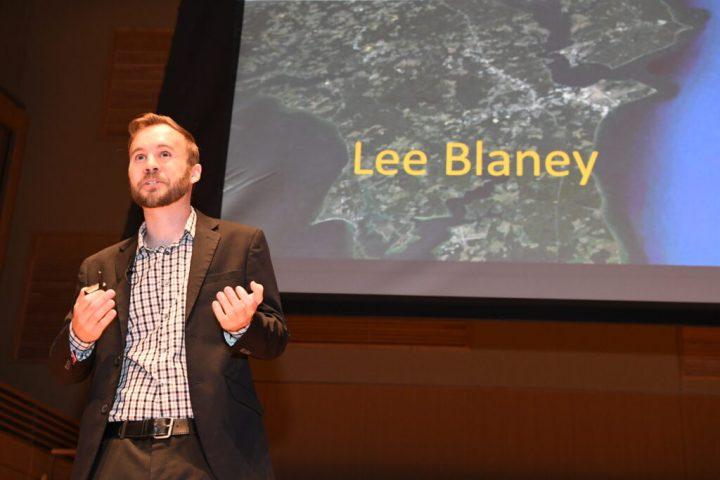 Lee Blaney, associate professor of CSEE, presents at GRIT-X.