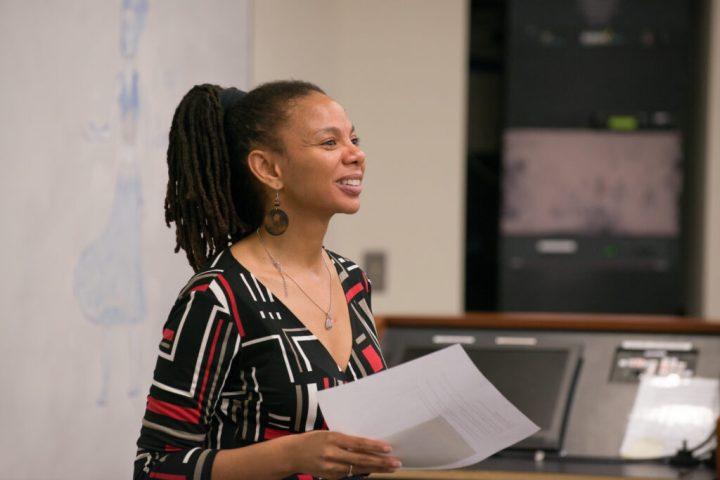 Kimberly Moffitt, American studies, teaching a class