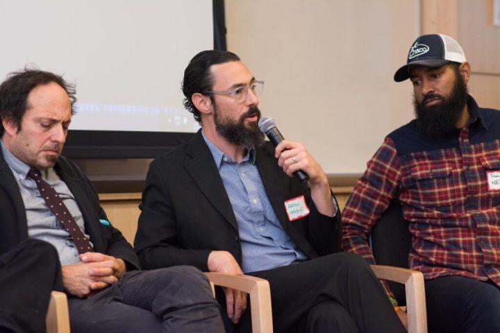 WYPR's Aaron Henkin speaks during Baltimore Stories panel.