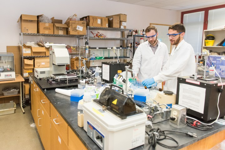 Lee Blaney, and Daniel Ocasio '17, chemical engineering, working in the lab.