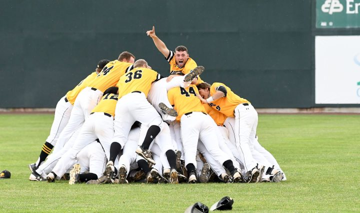 Retrievers celebrate winning the America East championship game. Photo courtesy of America East.