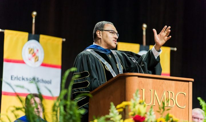 President Hrabowski addresses UMBC graduating class of 2018.