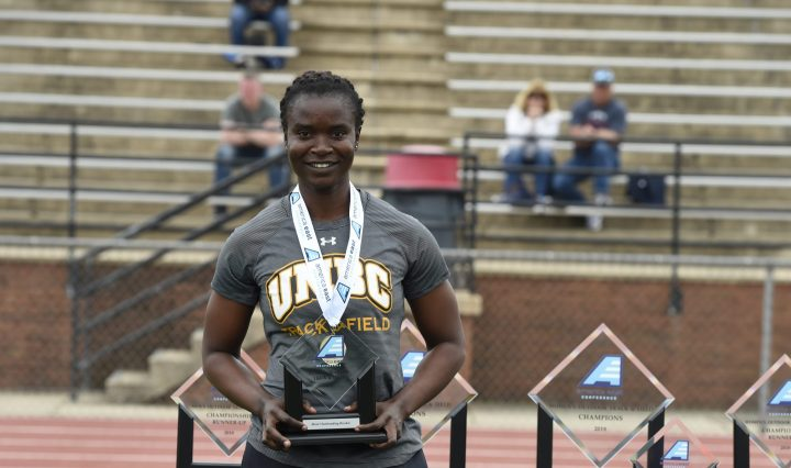 Kelechi Nwanaga after winning 4th at NCAA Track and Field Championships. Photo by Gail Burton