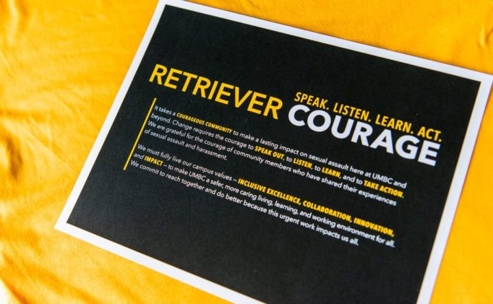 "Flyer reads ""Retriever Courage: Speak. Listen. Learn. Act."" and includes a mission statement."