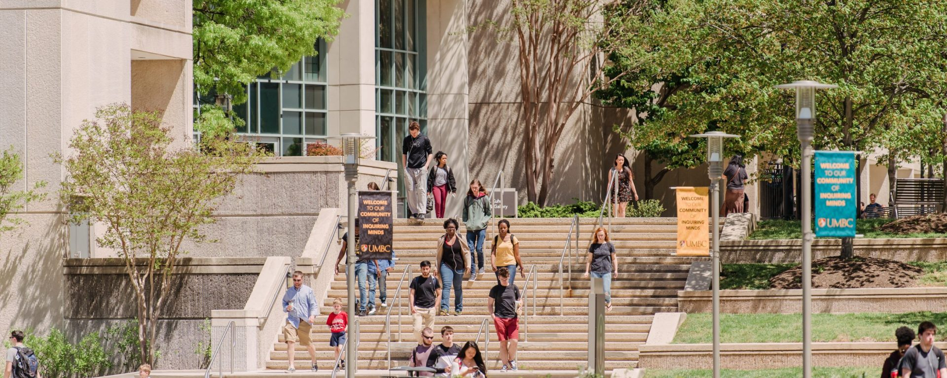Students walk down stairs in front of a library, surrounded by spring plants, in the sunshine.