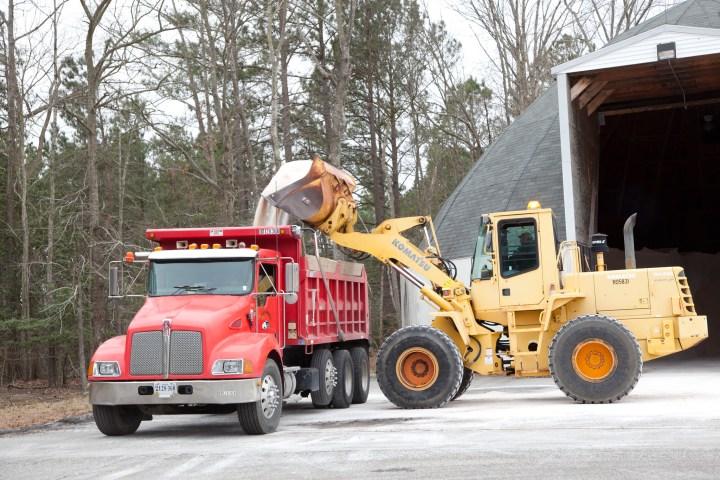 Winter salt truck being loaded