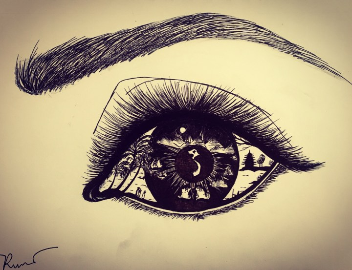 A black and white hand illustration of an eye and eyebrow with Vietnam and Vietnamese geographic and cultural icons within the eye.