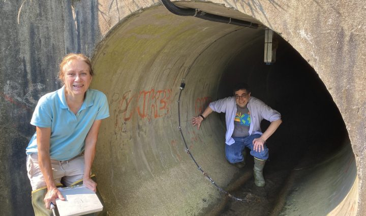 Man and woman in field research attire stand next to and inside a concrete tunnel at a research site.