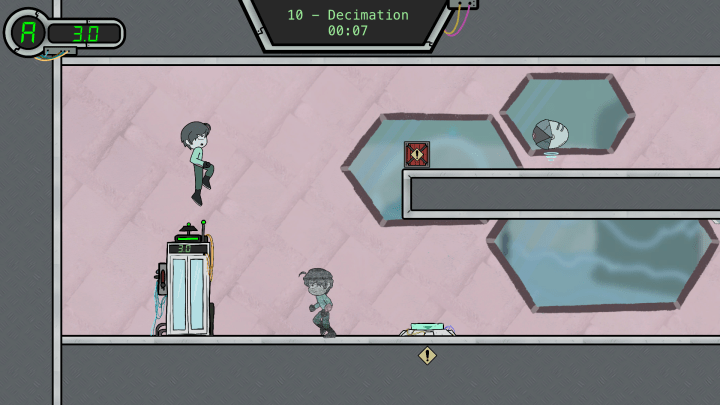 A digital drawing of virtual game with one character trying to jump on a platform and the other running the opposite way towards a door. A green timer at the top of the image counts down.