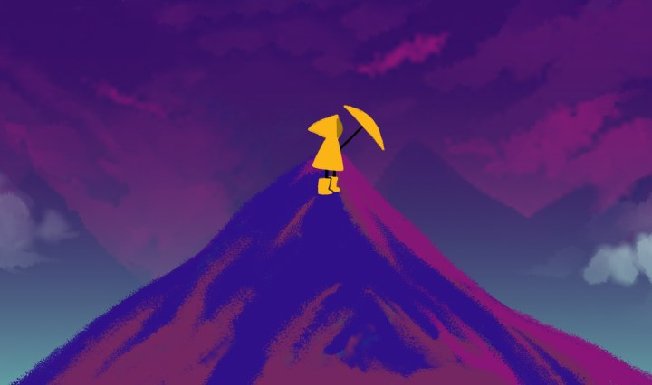 An animation still of a character dressed in a bright yellow rain jacket and holding a yellow umbrella while standing at the summit of dark purple and blue mountain with dark purple clouds behind the mountain.