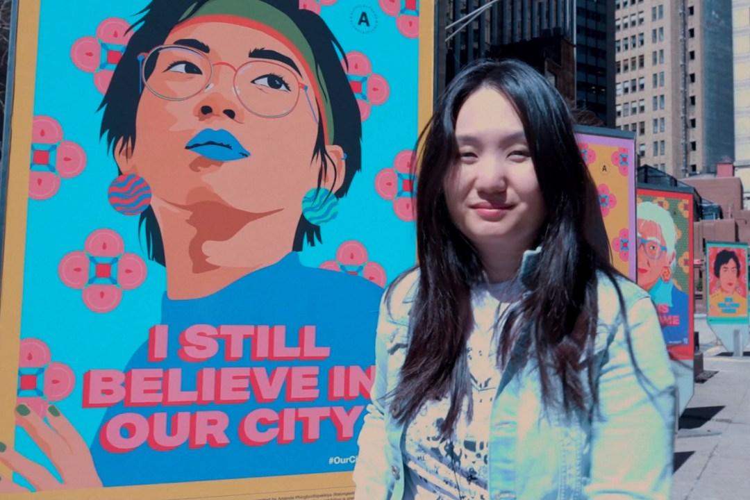 Фотография плаката из серии «Я все еще верю в наш город», посвященной силе, стойкости и надежде общин Нью-Йорка.
