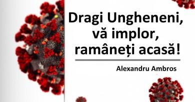 """Alexandru Ambros către cetățeni: """"Dragi Ungheneni, vă implor, ramâneți acasă!"""""""