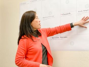 Innevation Center Director Grace Chou drawing on a whiteboard while speaking