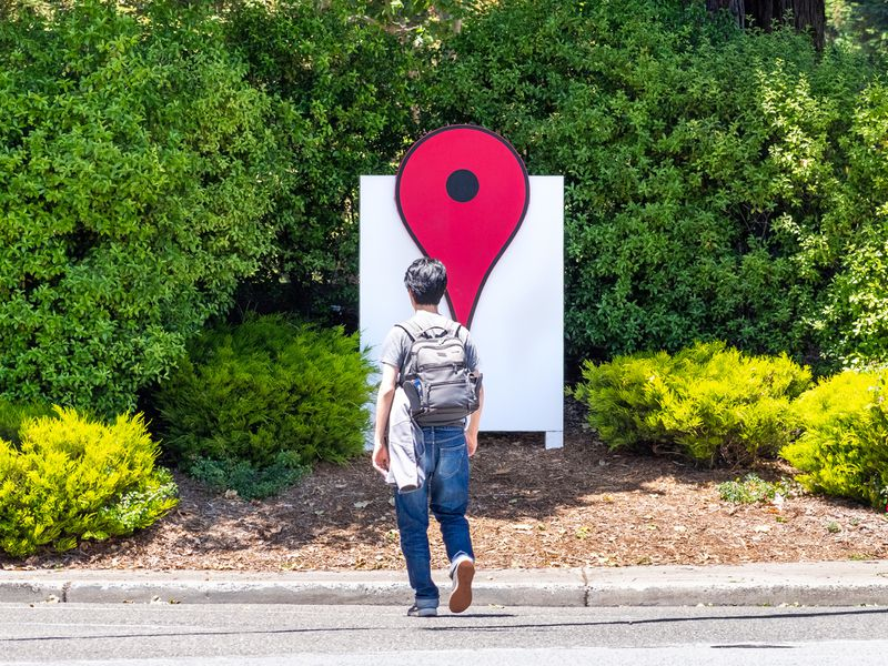The Google Maps icon is seen in June 2019 on the Google campus in California's Silicon Valley. Though some tech firms are leaving the state, venture capitalists may be bound to the Bay Area by the nature of startup culture.
