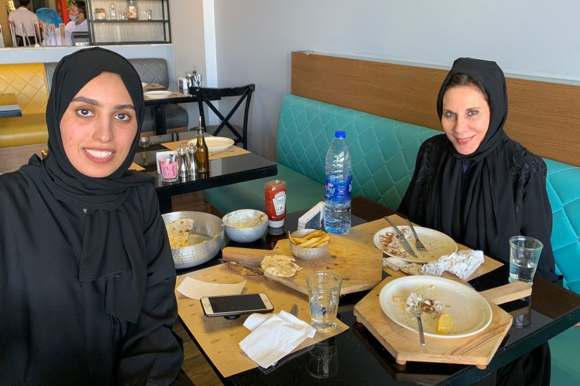 Anne DeSalvo with talent coordinator Hajar Alnaim
