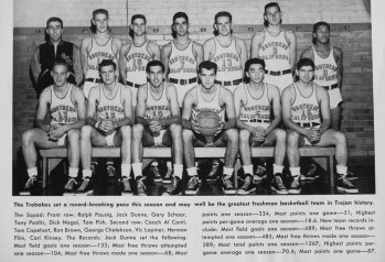 Education driven Tom Capehart photographed with the USC basketball team. He is in the back row second from the left.