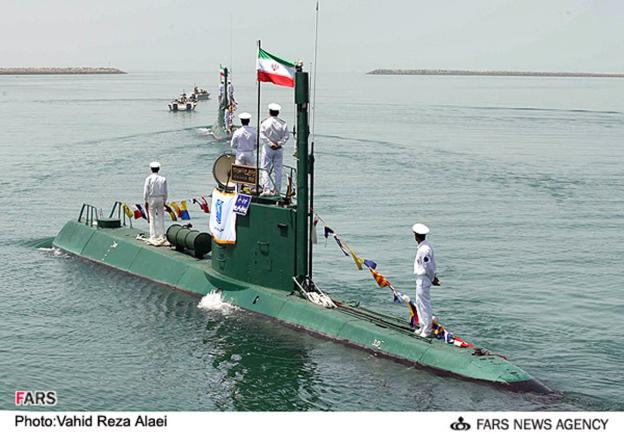 A photo of an Iranian Ghadir midget submarine based on the North Korean Yono class