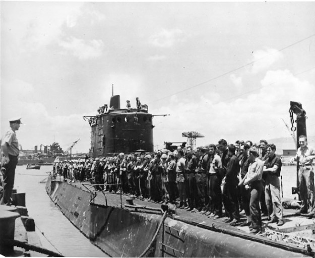 Sailors and Marines assembled following the Makin Island raid. U.S.Naval Institute Archives