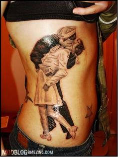 A torso tattoo.